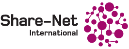 Share-Net logo, Black text says Share-Net International with purple dots that are connected to each other