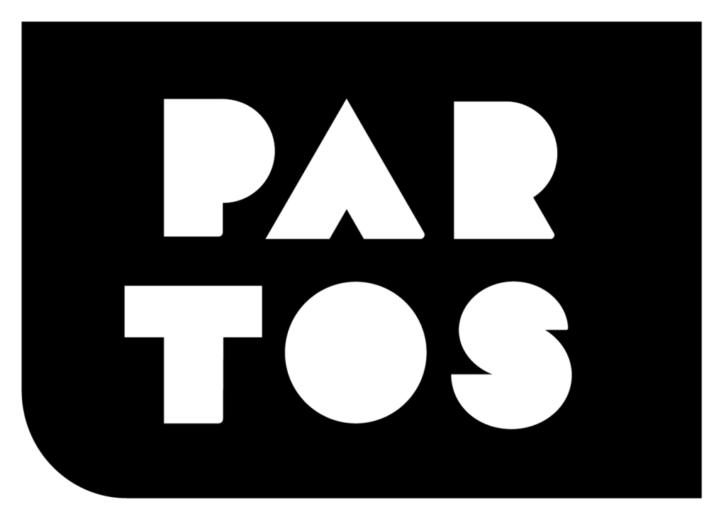 Logo of Partos, White Partos text on a black background