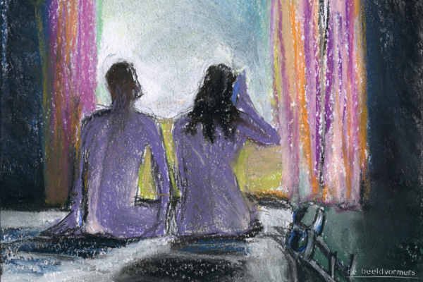 Painted picture of a couple sitting naked on a bed