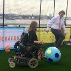 Lieke playing football with Koenders