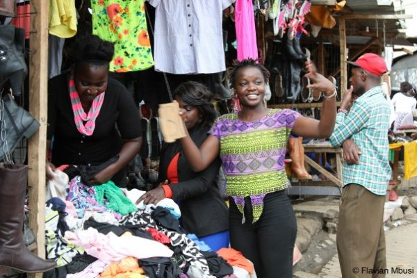 A woman selling clothes in Nairobi