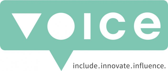 Logo of Voice, text include. innovate. influence.