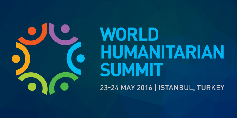 World Humanitarian Summit 2016 logo, text says World Humanitarian Summit 23-24 May 2016 Istanbul, Turkey