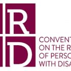 Logo van CRPD, paarse tekst zegt Conventie over de rechten van personen met een handicap