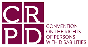 Logo of CRPD, purple text says Convention on the Rights of Persons with Disabilities
