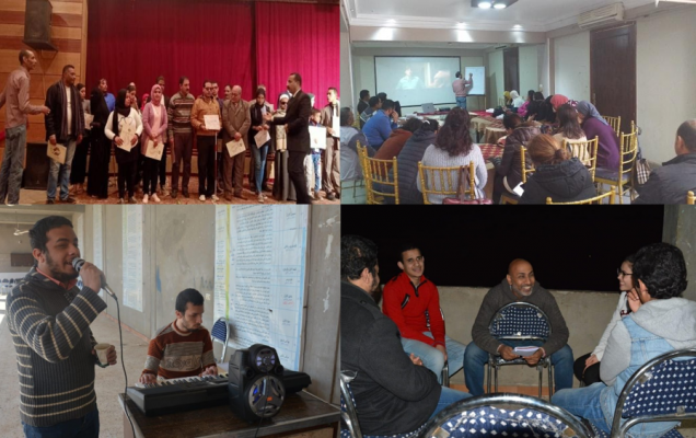 Several pictures of groups of people from Tunafasi's partner organisation in El Minia (Egypt) in the theatre, in a meeting, singing and playing piano and discussing.