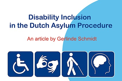 image with text stating 'disability inclusion in the Dutch Asylum Procedure, an article by Gerlinde Schmidt'